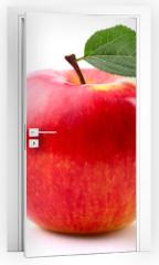Naklejka na drzwi - Ripe apple with leaf