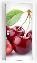 Naklejka na drzwi - Ripe cherry in closeup