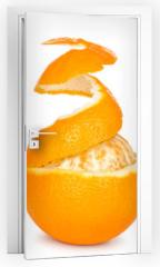 Naklejka na drzwi - ripe orange peeled skin on a white background