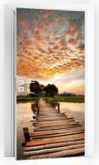 Naklejka na drzwi - River on sunset
