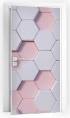 Naklejka na drzwi - Rose Quartz  abstract 3d hexagon background bee hive