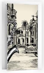 Naklejka na drzwi - saxophonist in a street of Cuba