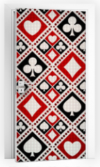 Naklejka na drzwi - Seamless background playing card suits