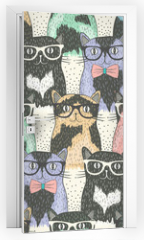Naklejka na drzwi - Seamless pattern with hipster cute cats for children