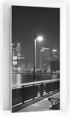 Naklejka na drzwi - Seaside Promenade of Harbor in Hong Kong city at night