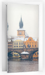Naklejka na drzwi - snow Charles bridge in Prague