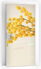 Naklejka na drzwi - Soft yellow acacia in little decor vase.