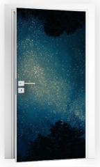 Naklejka na drzwi - Starry sky through trees