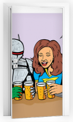 Naklejka na drzwi - Superheroes having beer, celebrating good times.