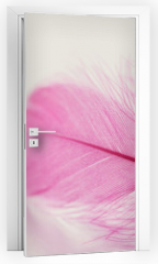 Naklejka na drzwi - Tender feather on light background for your design, pink color, copy space for text