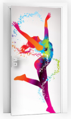 Naklejka na drzwi - The dancing girl with colorful spots and splashes on a light bac