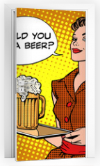 Naklejka na drzwi - The waitress beer on a tray