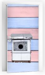 Naklejka na drzwi - tres cajas nido blancas sobre fondo de madera rosa y azul