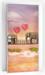 Naklejka na drzwi - Two elephants on a bridge in the sky with balloons. Illustration