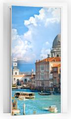 Naklejka na drzwi - Venice, view of grand canal and basilica of santa maria della sa