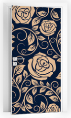 Naklejka na drzwi - Vintage roses flowers seamless pattern