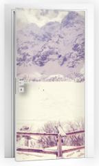 Naklejka na drzwi - Vintage stylized frozen lake Morskie Oko in Tatra Mountains, most popular mountain lake in Poland.
