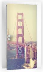 Naklejka na drzwi - Vintage toned picture of the Golden Gate Bridge, San Francisco.