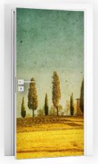 Naklejka na drzwi - vintage tuscan landscape
