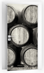 Naklejka na drzwi - Whisky or wine barrels in black and white