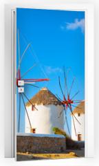 Naklejka na drzwi - Windmills with blue sky  Mykonos Island Greece Cyclades