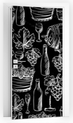 Naklejka na drzwi - Wine seamless pattern drawn by chalk.