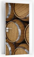 Naklejka na drzwi - Wooden oak brandy wine beer barrels rows
