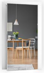 Naklejka na drzwi - Yellow tulips in dining room