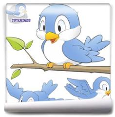 Fototapeta - A Set of Cute Cartoon Birds