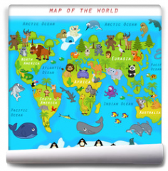 Fototapeta -  map of the world with animals - vector illustration, eps