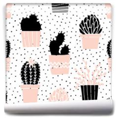 Fototapeta - Hand Drawn Cactus Pattern
