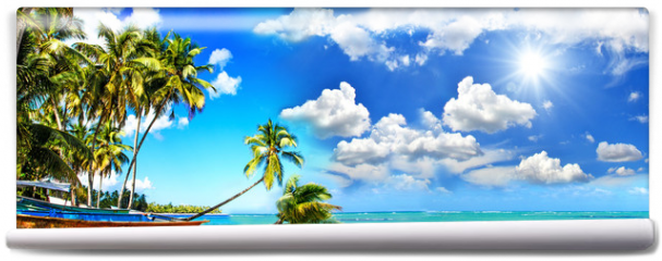 Fototapeta - Beach panorama: Perfect tropical paradise beach with turquoise blue water, blue sky, fisherman boat and coco palm :)