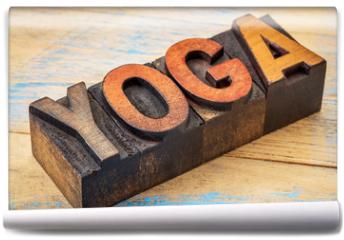 Fototapeta - yoga word in vintage wood type