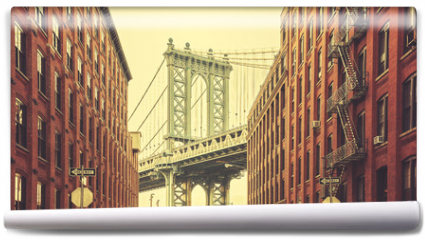 Fototapeta - Retro stylized Manhattan Bridge seen from Dumbo, New York.