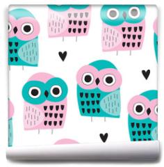 Fototapeta - seamless owl bird pattern vector illustration