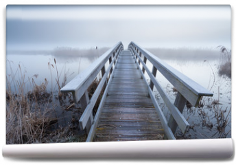 Fototapeta - wooden bridge via river in winter