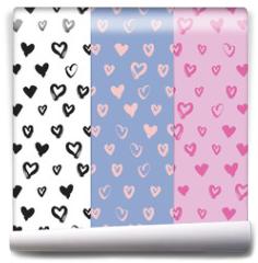 Fototapeta - Hand-drawn seamless pattern set with hearts