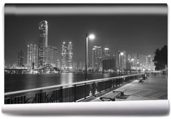 Fototapeta - Seaside Promenade of Harbor in Hong Kong city at night