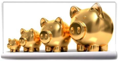 Fototapeta - goldene Sparschweine wachstum,