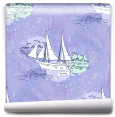 Fototapeta - Seamless patt waves ships