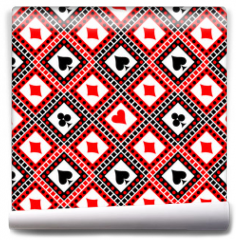Fototapeta - Seamless vector pattern with icons of playings cards. Bright red, black and white symmetrical geometric background. Decorative repeating ornament. Series of Geometric, Ornamental Seamless Pattern