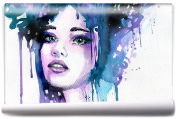 Fototapeta - Abstract watercolor illustration depicting a portrait of a woman