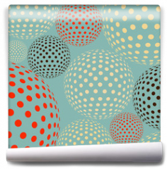 Fototapeta - Dotted balls floating, like molecules or bacteria under a microscope, in a multicolored blue  palette