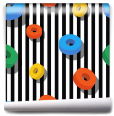 Fototapeta - Seamless pattern pattern with colorful rings on black and white stripes. Vector geometric background. Flat design concept for fashion textile print, wrapping paper or web backgrounds