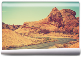 Fototapeta - Vintage toned picture of a scenic winding road, USA