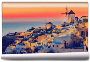 Fototapeta - Santorini, Greece - Oia at sunset
