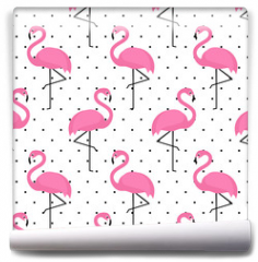 Fototapeta - Flamingo seamless pattern on polka dots background. Flamingo vector background design for fabric and decor.