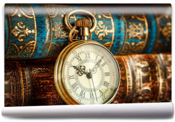 Fototapeta - Old Books and Vintage pocket watch