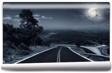 Fototapeta - An asphalt road at night