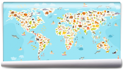 Fototapeta - World mammal map. Beautiful cheerful colorful vector illustration for children and kids. Preschool, baby, continents, oceans, drawn, Earth
